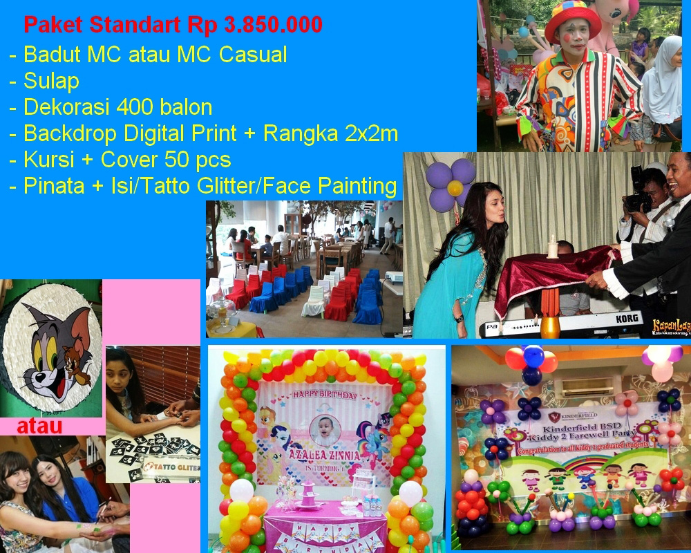 paket ulang tahun standart pesta ulang tahun kis party organizer