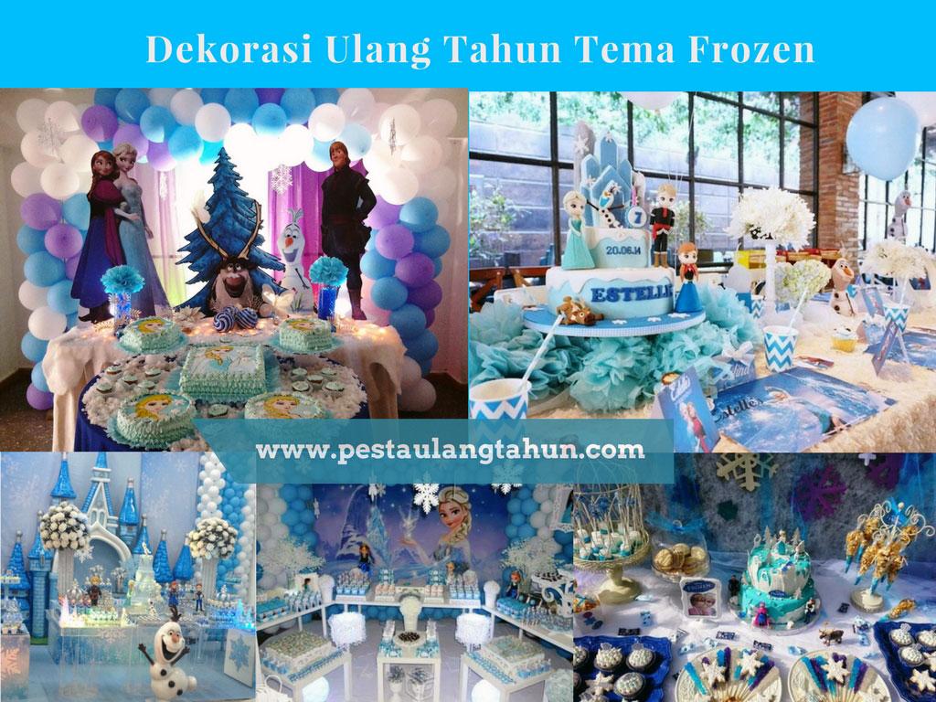 Dessert table dan Dekorasi Ulang Tahun Anak Perempuan Tema Frozen